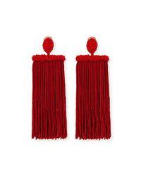 Oscar de la Renta - Red Silk Tassel Waterfall Clip-on Earrings - Lyst