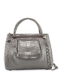 Nancy Gonzalez - Gray Medium Pleated Crocodile Tote Bag - Lyst