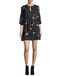 Joie - Black Avari Floral-print Silk Dress - Lyst