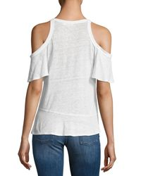 A.L.C. - White Anya Linen Cold-shoulder Tee - Lyst