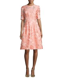 Lela Rose   Pink Holly Floral Fil Coupe Half-sleeve Dress   Lyst