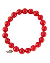 Sydney Evan - 8mm Red Coral Beaded Bracelet With 14k Gold/diamond Small Horn Charm (made To Order) - Lyst