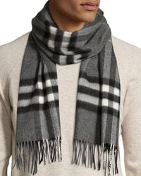 Burberry Gray Men's Cashmere Giant Icon Scarf for men