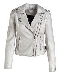Joie - Gray Leolani Metallic Leather Jacket - Lyst