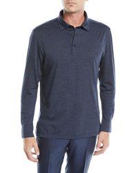 Ermenegildo Zegna - Blue Men's Wool-blend Long-sleeve Polo Shirt for Men - Lyst