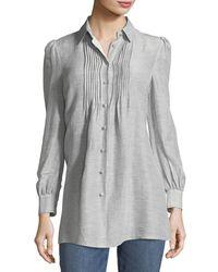 Co. - Blue Button-front Striped Silk-linen Shirt - Lyst