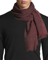 Isaia - Red Gruppo Dotted Cashmere-blend Scarf for Men - Lyst