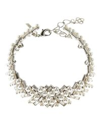 Oscar de la Renta - Metallic Pearly Baguette Statement Necklace - Lyst