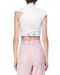 Proenza Schouler - White Cap-sleeve Leather Wrap Top - Lyst