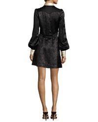 Marc Jacobs - Black Collared Metallic Chevron Charmeuse Dress - Lyst