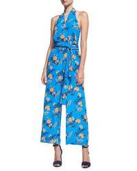 Diane von Furstenberg | Blue Halter-neck Wrap-front Jumpsuit | Lyst