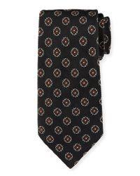 Ermenegildo Zegna Black Fancy Box Silk Tie for men