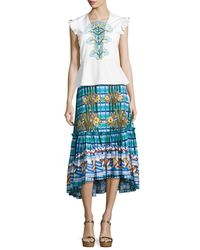 Peter Pilotto - Blue Embroidered Cotton Midi Skirt - Lyst