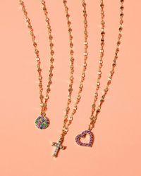 Lana Jewelry - Metallic Girls' Mini Open Circle Rainbow Sapphire Pendant Necklace - Lyst