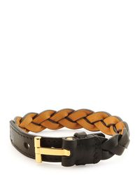 Tom Ford Black Nashville Men's Braided Leather Bracelet for men