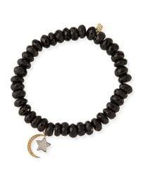 Sydney Evan - Black 8mm Spinel Beaded Bracelet With Diamond Moon & Star Charms - Lyst