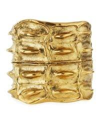 Saint Laurent - Metallic Opyum Croco Cuff Bracelet - Lyst