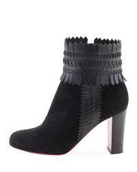 Christian Louboutin | Black Pocabootic Whipstitched Red Sole Boot | Lyst