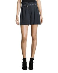 3.1 Phillip Lim - Blue High-waist Belted Pinstriped Utility Shorts - Lyst