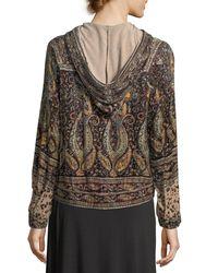 Haute Hippie Multicolor Sahara Hooded Zip-front Beaded Printed Bomber Jacket
