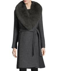 Fleurette - Gray Wrap-front Shawl-collar Textured Knit Wrap Coat - Lyst