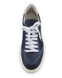 Brunello Cucinelli Blue Men's Suede & Leather Low-top Sneakers for men