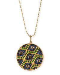 Sydney Evan - Metallic Multi-eye Black Diamond & Sapphire Medallion Necklace - Lyst