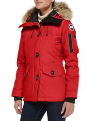 Canada Goose Red Montebello Parka With Fur Hood
