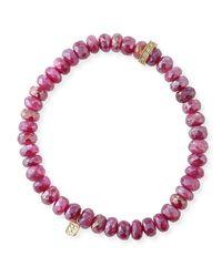 Sydney Evan - Red 14k Diamond Rondelle Moonstone Bracelet - Lyst