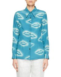 Dries Van Noten Blue Capios Lip-print Silk Blouse