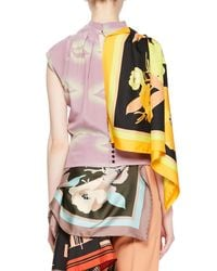 Dries Van Noten Purple Coletti Asymmetric Lip-print Top