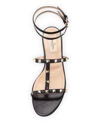 Valentino Black Moonwalk Rockstud Flat Sandal