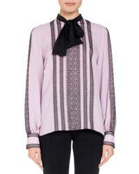 Andrew Gn Purple Long-sleeve Lace-trim Silk Blouse W/ Neck Tie
