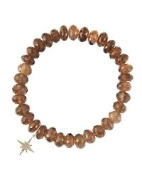 Sydney Evan - Gray 8Mm Faceted Smoky Quartz Beaded Bracelet With 14K Gold/Diamond Small Starburst Charm (Made To Order) - Lyst
