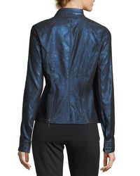 Elie Tahari - Blue Bently Metallic-leather Jacket - Lyst