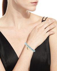 Sydney Evan - Blue 8mm Aquamarine Beaded Bracelet With Diamond Wing Charm - Lyst