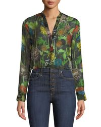 23e0fddc9c1 Alice + Olivia Amos Floral Burnout Long-sleeve Tunic Top in Green - Lyst