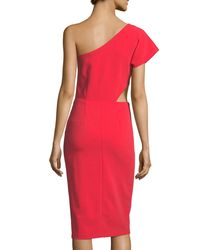 Alice + Olivia - Red Gina One-shoulder Cutout Fitted Dress - Lyst