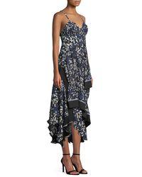 3.1 Phillip Lim Blue Sleeveless Bra-top Layered Painted-dot Silk Dress W/ Ribbed Trim