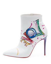 Christian Louboutin White Boot In Love Leather Ankle Boots