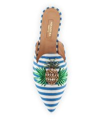 Aquazzura Multicolor Pineapple Flat Nautical-stripe Mules
