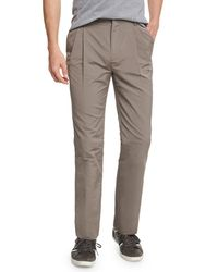 Valentino - Gray Pleated-front Straight-leg Trousers for Men - Lyst