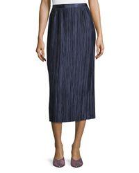 Tibi Blue Plisse Pleated Midi Skirt