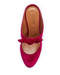 Aquazzura - Red Sandy Tie-front Velvet Mule Pump - Lyst