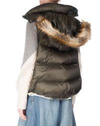 Sacai - Multicolor Puffer Vest W/faux-fur Trim - Lyst