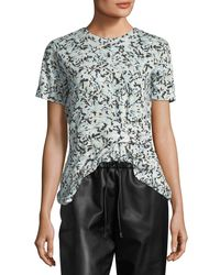 Proenza Schouler Blue Side-cinched Floral-print T-shirt