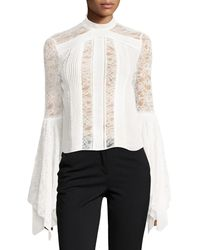 Alice + Olivia White Ivy Handkerchief-sleeves Silk Lace Top
