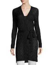 M Missoni Black Long Wool-blend Open Cardigan W/ Tie
