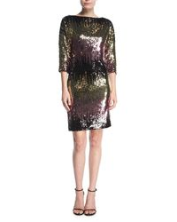 MILLY Black Kimberly Ombre Sequin Cowl-back Mini Cocktail Dress