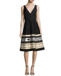 Oscar de la Renta | Black Ikat-embroidered Faille Cocktail Dress | Lyst